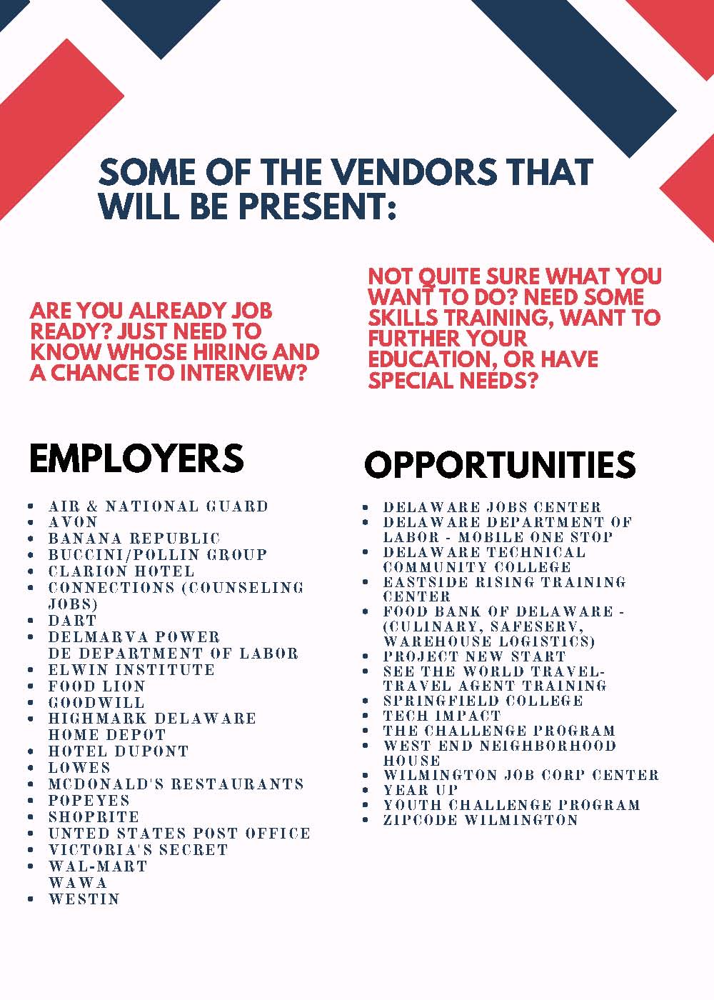 help wanted: wilmington job and opportunity fair next week